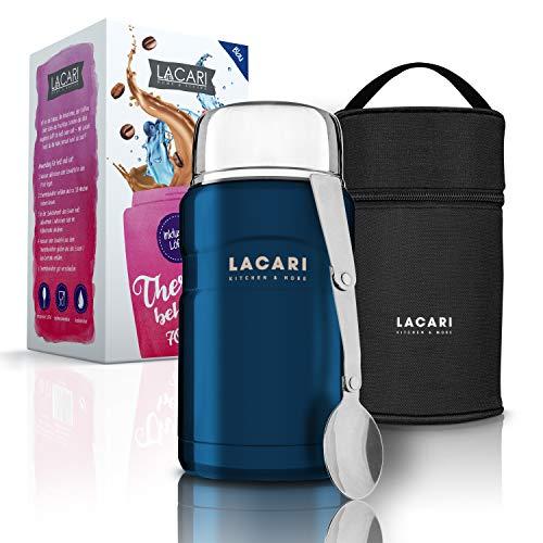 LACARI Thermobehälter für Essen in Blau | 700ml Thermosflasche aus Edelstahl | Warmhaltebehälter Essen | Lunchbox & Müsli to go Becher | Essensbox BPA frei | Inklusive Löffel & Transporttasche