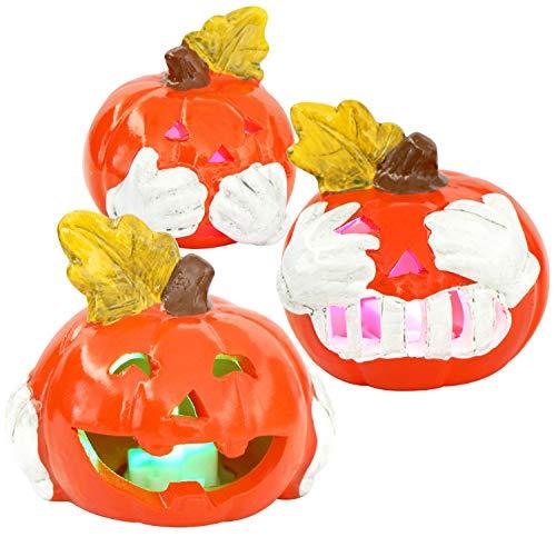 COM-FOUR® 3x pompoen met LED-verlichting - windlicht voor Halloween en herfst - decoratieve pompoen horen, zien en niets zeggen (003 stuks - pompoen 7cm)
