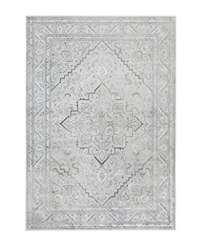 Luxor Living intageteppich Famos, Designerteppich, hochwertig gewebt, pflegeleicht, Farbe:Silber, Polyamid, 80 x 150 cm