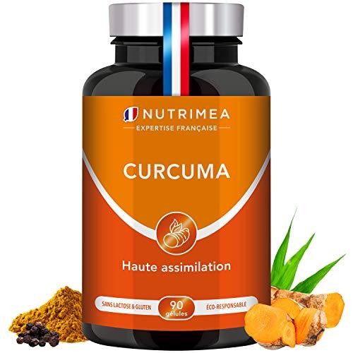 Curcuma haute concentration 100% naturel | Association curcumine et poivre noir | Anti-inflammatoire, antioxydant, détox, digestion | 90 gélules végétales | Fabrication Française