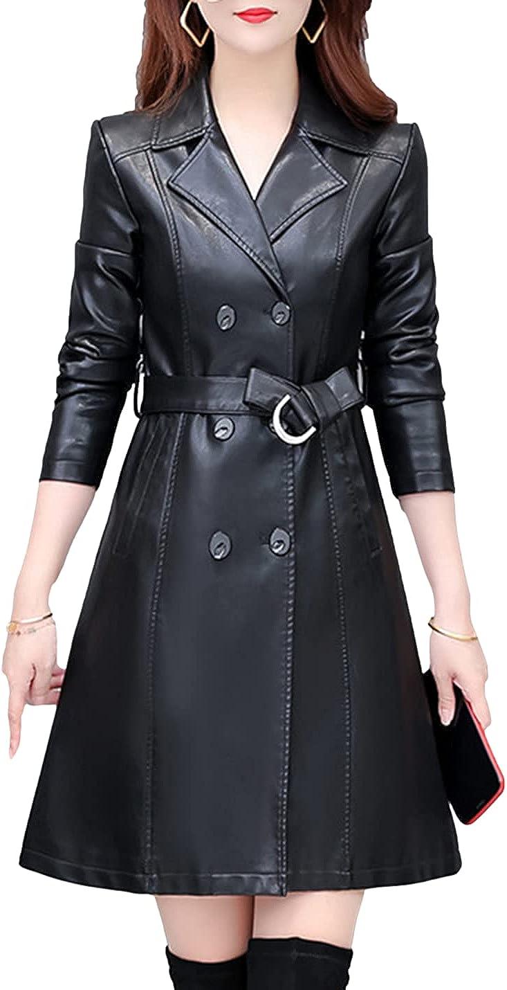 Omoone Women's Slim Winter Long Lapel Faux Fur Lined PU Leather Jacket Overcoat