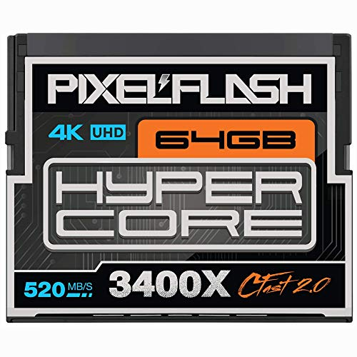 64GB PixelFlash Cfast 2.0 Memory Card 3400X Standard Version for Canon C300, XC10, XC15, Hasselblad, Blackmagic Cinema 4K, Phase One, Leica, and More [2020 Edition][American Brand]