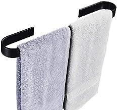XINHU Enkele handdoekenrek Badkamer Handdoekenrek Handdoekring Zwart, Zilver Maat: 50cm (Kleur: Zwart, Maat: 60cm)