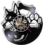 zgfeng Reloj de Pared con Disco de Vinilo de Husky Siberiano no Marcado Tienda de Mascotas Retro Art Deco Colgante Raza de Perro guardián Idea de Regalo para dueño de Perro Husky Siberiano-con LED
