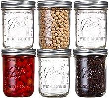 Ball Wide Mouth Mason Jars 16 oz Bundle with Non Slip Jar Opener- Set of 6 Half Quart Mason Jars - Canning Glass Jars...
