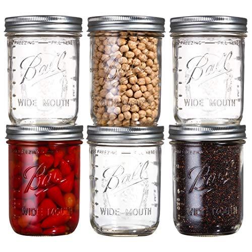 Ball Wide Mouth Mason Jars 16 oz Bundle with Non Slip Jar Opener brand BHL Jars- Set of 6 Half Quart Mason Jars - Canning Glass Jars with Lids