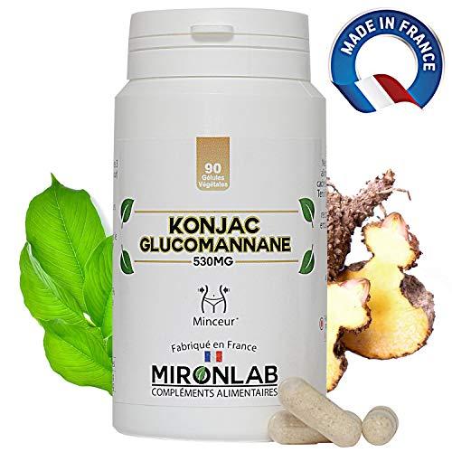 Konjac complément minceur 530mg / gélule | 95% de glucomannanes | 90 gélules végétales | Idéal pour perdre du poids naturellement | Fabriqué en France MironLab