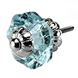 Arctic Blue Glass Cabinet Knobs, Dresser Drawer & Handles Set/2pc ~ K186FF Art Deco Glass Knobs w/Chrome Florentine Hardware for Armoire, Kitchen Cabinets, Cupboards, and Second Hand Furniture