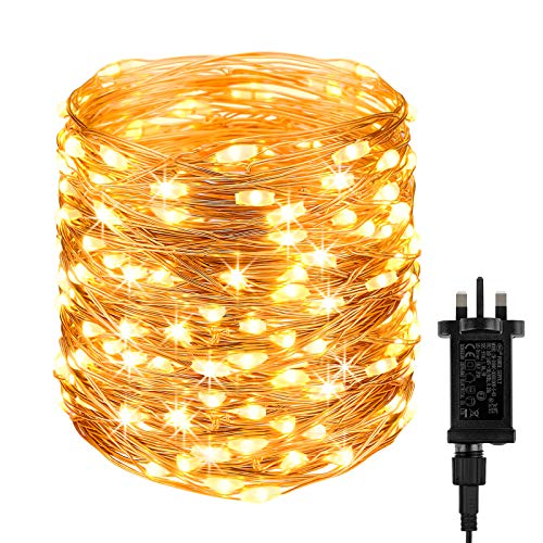 DeepDream 20M Fairy Lights Plug in, 200 LED String Lights Mains Powered,8 Mode Waterproof Copper Wire LED Lights Outdoor/Indoor for Christmas,Garden,Bedroom,Wedding Party Decorations (Warm White)