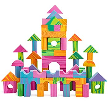 Morvat Foam Building Block Set- 140 Piece Soft Multi-Colored Building Blocks Sets Educational Stacking Blocks Foam Building Blocks for Kids Non-Toxic &BPA Free -Great Bath Toys for Babies & Toddlers