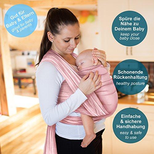 Babytragetuch aus 100% Baumwolle – Rosa – hochwertiges Baby-Tragetuch für Neugeborene und Babys bis 15 kg – inkl. Aufbewahrungsbeutel und GRATIS Baby-Lätzchen – liebevolles Design von Makimaja® - 2