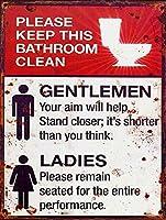 このバスルームを清潔に保ってくださいブリキの看板金属ポスターレトロプラーク警告サインヴィンテージ鉄の絵画の装飾オフィスの寝室のリビングルームクラブのための面白い吊り下げ工芸品