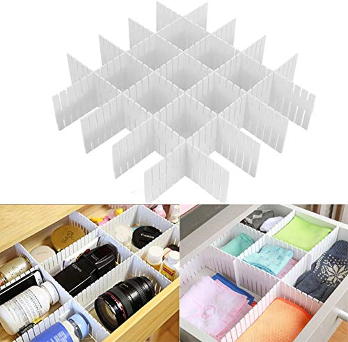 Separadores de Cajones,Divisor de cajón, 8 piezas Separadores de cajón Divisores de cajón de rejilla ajustable Separador de armario de plástico para bricolaje Organizador ordenado Contenedor