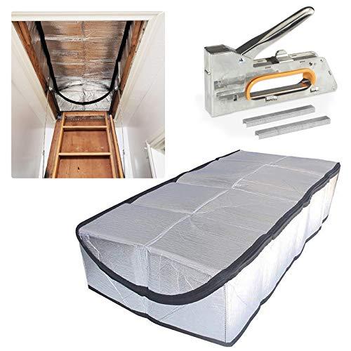 """Attic Stairs Insulation Cover for Pull Down Stair Energy Saving Attic Cover R-Value 15.3 Fireproof Attic Tent with Easy Zipper Pull Down Stairs Cover with Installation Tools 25"""" x 54"""" x 11"""""""