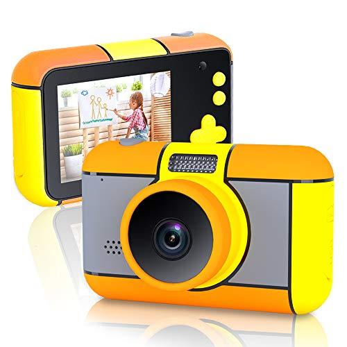 richgv Cámara para Niños, Cámara de Video 1080p HD con Mmoria 16GB, Videocámaras Juguetes, Doble Lente, Pantalla de 2.4 Pulgadas, Cámara Juguetes Niños 3-10 Años (Naranja)