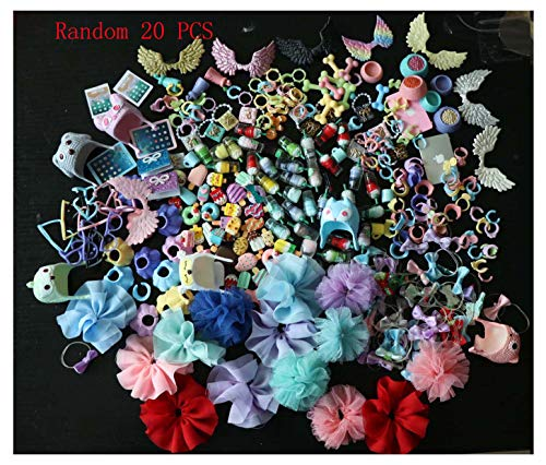 JWRAC LPS Accessories Lot Grab Bag (Random 20 PCS) Laptop Wings Glasses Earring Bow Skirt Clothes Collars Coffee Drink Outfit Fit LPS Cat and Dog Collie Puppy Kitten (Ship from USA)