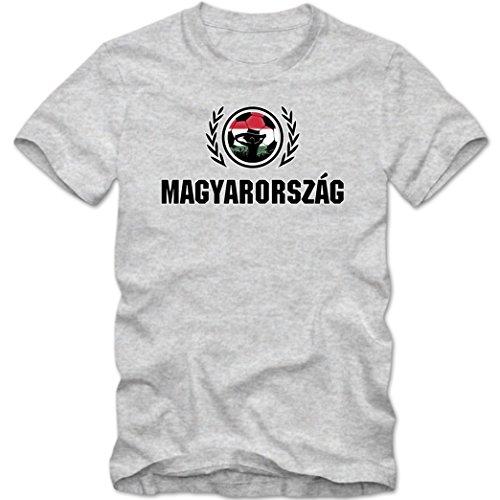 Ungarn WM 2018#2 T-Shirt | Fußball | Herren | Trikot | Nationalmannschaft, Farbe:Graumeliert (Grey Melange L190);Größe:XL
