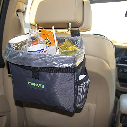 Drive Auto Products Car Trash Can with Liner - Medium - Black Strap