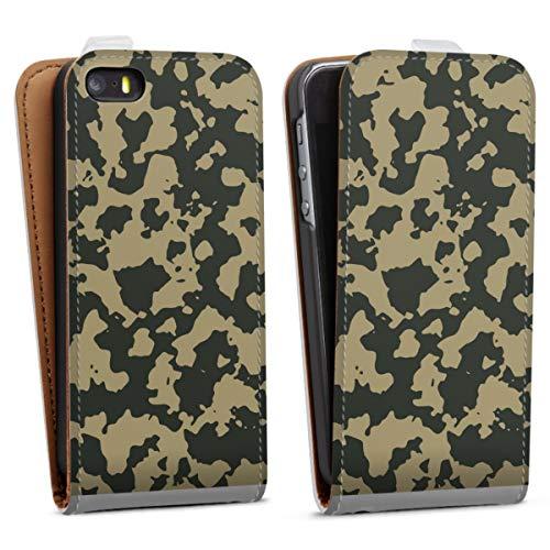 DeinDesign Tasche kompatibel mit Apple iPhone 5s Flip Case Hülle Weiß Soldat Bundeswehr Camouflage
