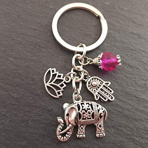 Tribal Ethnic Keychains Unique Bohemia Gift Key Holder Lotus Jewelry Hand Elephant Car Keychain For Women,silver