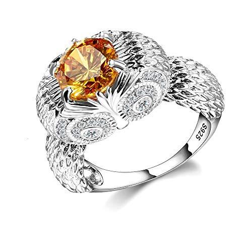 IWINO 925 Sterling Zilver Uil Charm Ringen Voor Vrouwen Mannen Geel Ovaal Citrien Zirconia Stenen Sieraden Ring