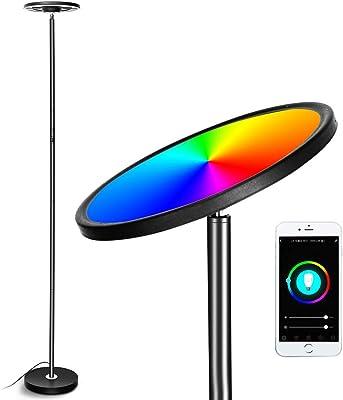 Lampe sur pied PDGROW WiFi Smart avec changement de couleur RVB - Intensité variable - Lampe LED - Pour salon, bureau, chambre - Compatible avec téléphone, Alexa, Echo et Google Home