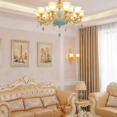 Led-plafondlamp, plafondlamp, woonkamer eenvoudige en moderne sfeer Complex Villa Saal restaurant kristallen kroonluchter met uien, 15 hoofden, luxe decoratieve lampen