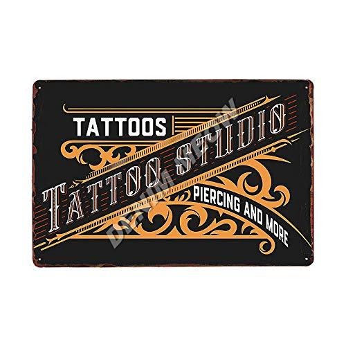 Jinlyp Estudio de Tatuaje clásico Cartel de Chapa de Metal Arte Retro Habitación Antigua Sala de Estar Decoración del hogar Cartel de Metal 20x30cm 3