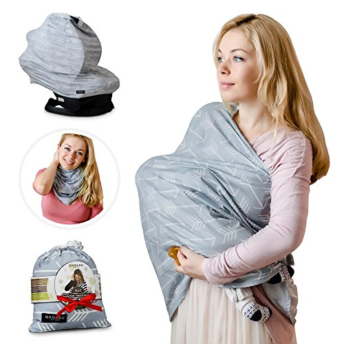 Nursing Breastfeeding Cover Scarf - Baby Car Seat Canopy, Shopping Cart, Stroller, Carseat Covers for Girls and Boys - Grey Arrows