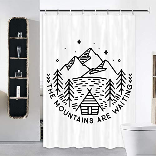 JAWO RV Shower Curtain for Camper Trailer Camping Bathroom, Camping Tent with Trees and Campfire, Stall Shower Curtain with Hooks Set, 47x64Inch