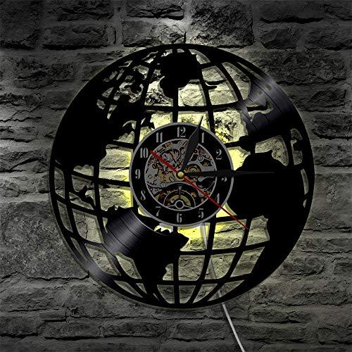 LTOOD 1 stuk Wereldkaart Decoratieve Vinyl Record Wandklok Reizen Rond De Wereld Vintage LP Handgemaakte Wanddecoratie horloge