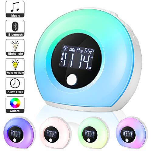EXTSUD Wake up Wecker LCD Lichtwecker LED Nachttischlampe mit Bluetooth Lautsprecher Dimmbar Stimmungslicht 5 Farbwechsel&4 Helligkeit,Vibration sensor drahtlos Bettlampe für Erwachsene und Kinder