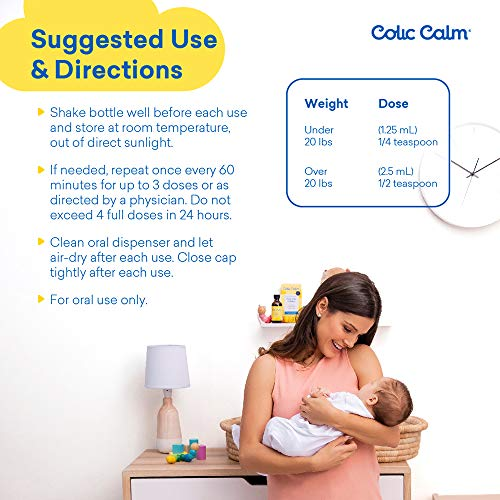 Colic Calm Homeopathic Gripe Water - 2 Fl. Oz - Colic & Infant Gas Relief Drops - Helps Soothe Baby Gas, Colic, Upset Stomach, Reflux, Hiccups - Made in The USA - Safe, Gentle, Natural Gripe Water
