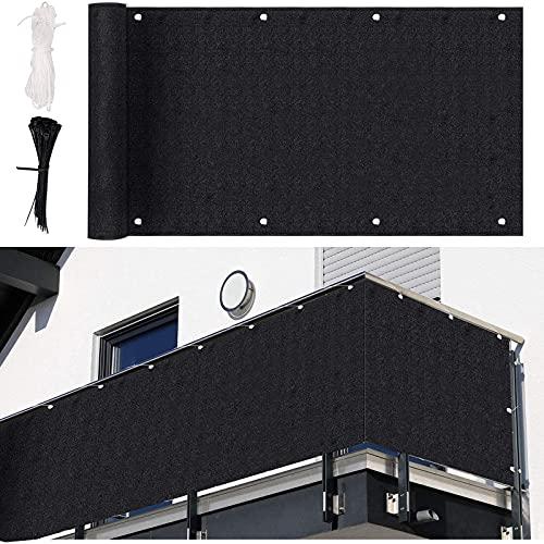 MINJIE Brise Vue Balcon,220 g/m² HDPE 0.9X 5m Balcon Cache Vue,Cache Vue Exterieur Jardin avec Serre-Câbles et Cordon