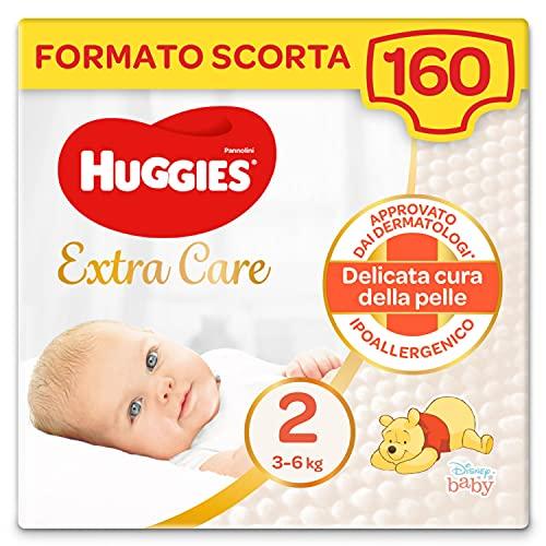 Huggies Extra Care Bebè Taglia 2 (3-6Kg), 4 Confezioni da 40 Pannolini, 4380 Gr