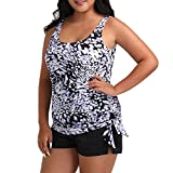 FULLFITALL Plus Size Swimsuits for Women Two Piece Bathing Suits Tankini Set Tummy Control Swimwear with Boyshorts