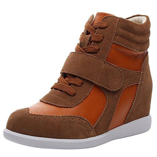 rismart Mujer Tacón De Cuña Velcro Brogue Casual Ante Zapatillas Zapatos SN8599A(Marrón,38 EU)