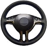 HZHAOWEI Cubierta de Volante Negra de Cuero Cosida a Mano, para BMW E39 E46 325i E53 X5-Hilo Azul