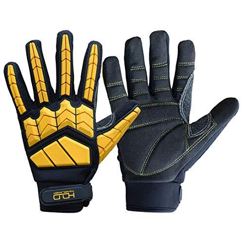 Heavy Duty Mechanic Glove,Premium Padded Rigger Glove(Anti-vibration,Anti-abrasion,Impact Gloves) (Large, Black and Yellow)