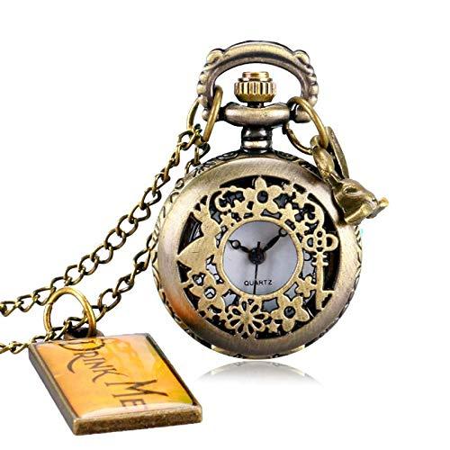 Reloj de Bolsillo con Colgante de Bronce Vintage, Collar con Etiqueta, Cadena, Regalos de Moda para niñas y Mujeres P655