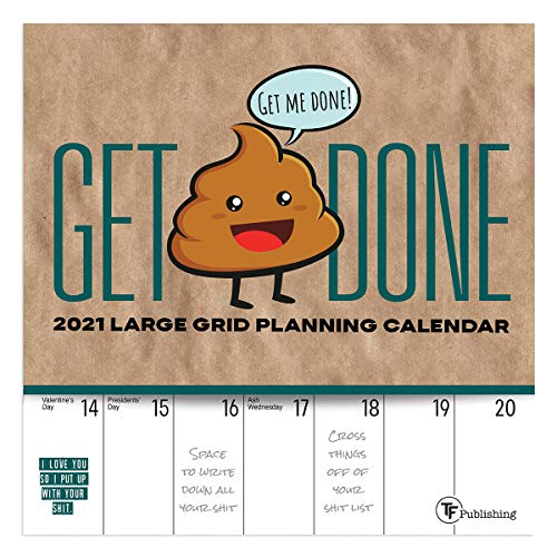 """TF PUBLISHING 2021 Big Grid - Get Shit Done Mini Monthly Calendar - Appointment Tracker - Contacts and Notes Page - Home/Office - Planning/Organization in Compact Spaces - Premium Matte Paper 7""""x7"""""""