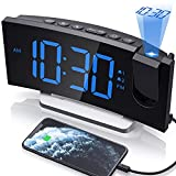 Clock Radios, Projection Alarm Clock with 0-100% Dimmer and FM Radio, Dual Alarm, 5 Alarm Sounds and 3-Level Volume, USB Charger, Clear Readout Digital Alarm Clock for Bedroom, Bedside Clock for Kids