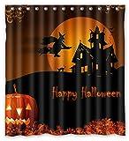 ZHANZZK Halloween Pumpkin Cat Witch Castle Bat Moon Polyester Fabric Bathroom Shower Curtain 66x72 inch