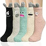 5 Pairs Womens Fuzzy Socks Cute Animal Winter Slipper Sleeping Socks Christmas Gifts for Women (rose bloom)
