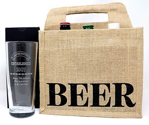 Personalised Pint Glass & 6 Bottles of Beer in Jute Gift Bag - Established Design