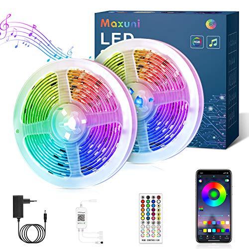 Tira de LED 12m, Tira de LED Maxuni 5050 RGB con 60 mil colores y 108 LED, control de APP y mando a distancia, cadena de luz autoadhesiva para TV, salón, dormitorio etc.