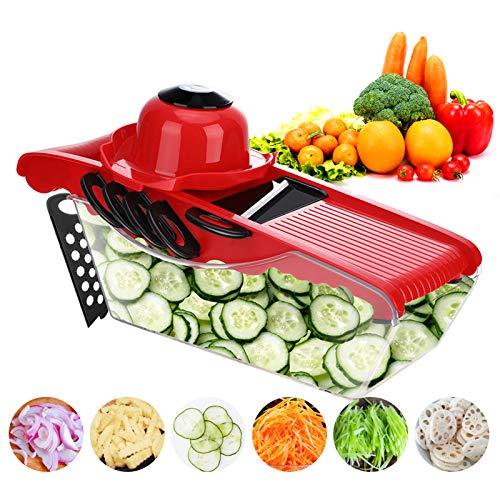 MIGECON Vegetable Chopper Fruit Dicer Food Cutter Mandoline Slicer Multi 6 Blades Storage Container