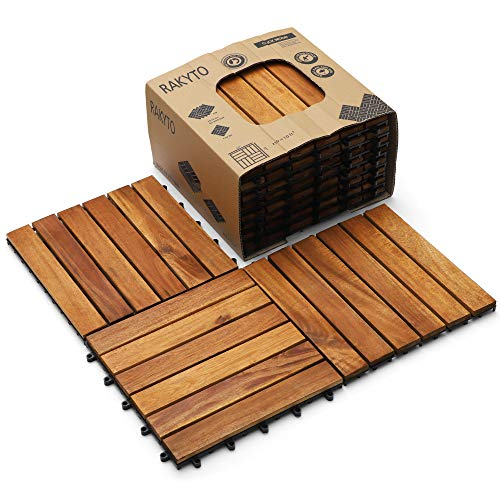 """Wood Interlocking Flooring Tiles (Pack of 10, 12"""" x 12""""), Totally 10 Ft2, Solid Wood Acacia Deck Tiles Interlocking Outdoor, Patio Tiles Outdoor Interlocking Waterproof All Weather (6 Slat)"""