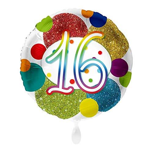 Luftballon Markt 1 Folienballon 16 Geburtstag Punkte bunt rund ca.45 cm ungefüllt Ballongas geeignet