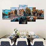 5 paneles de impresión de lienzo pintura arte de pared moderno Amsterdam Canal pintura impresiones sobre lienzo